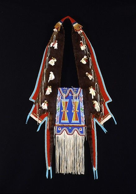 Horse Medicine Bag Artist: Joyce Growing Thunder Fogarty (Native American, Assiniboine-Sioux, born 1950) Date: 1988 Geography: United States, Montana Culture: Assiniboine-Sioux Medium: Commercial and native-tanned leather, otter skin, rawhide, wool and cotton cloth, ermine skin, glass and brass beads, silk ribbon