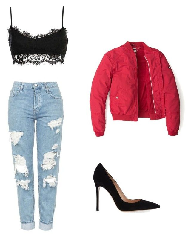 """Bez tytułu #3"" by victoriabajer on Polyvore featuring moda, Topshop, Tommy Hilfiger i Gianvito Rossi"