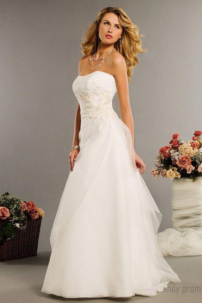 Applique Sweep Train Chiffon Wedding Dress