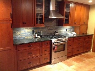 Backsplash And Cherry Cabinets Kitchen Remodel Slate Ubatuba Granite