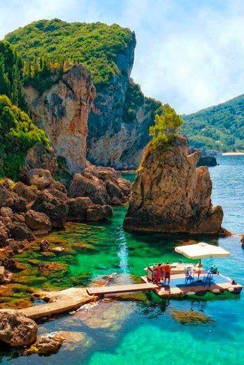 La Grotta Cove, Corfu Island, Greece... Lets go.. http://corfudiary.gr/category/corfubeaches/
