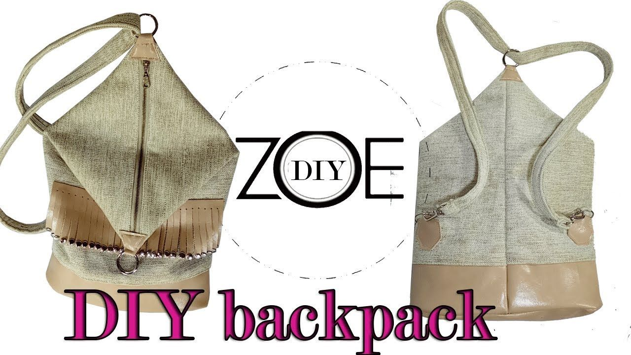 DIY backpack | back to school | zoe diy | videos | Bolso morral ...
