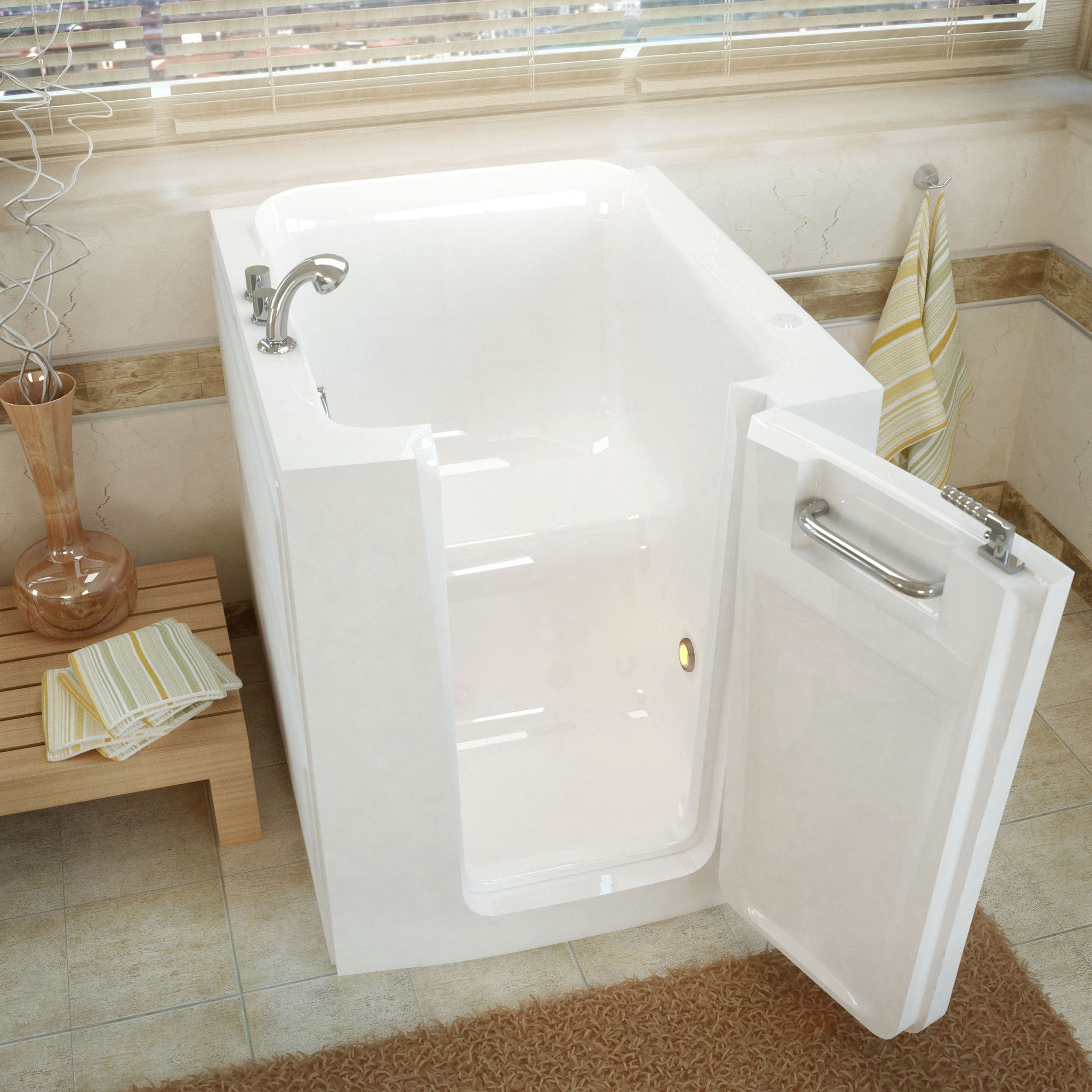 Venzi VZ3238RWS 32x38 Right Drain White Soaking Walk-in Bathtub ...