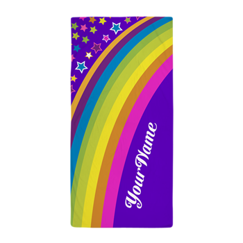 Rainbow Purple Pink Personalized Beach Towel
