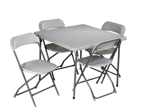 Light Gray Resin 5 Piece Folding Table And Chair Set Card Table
