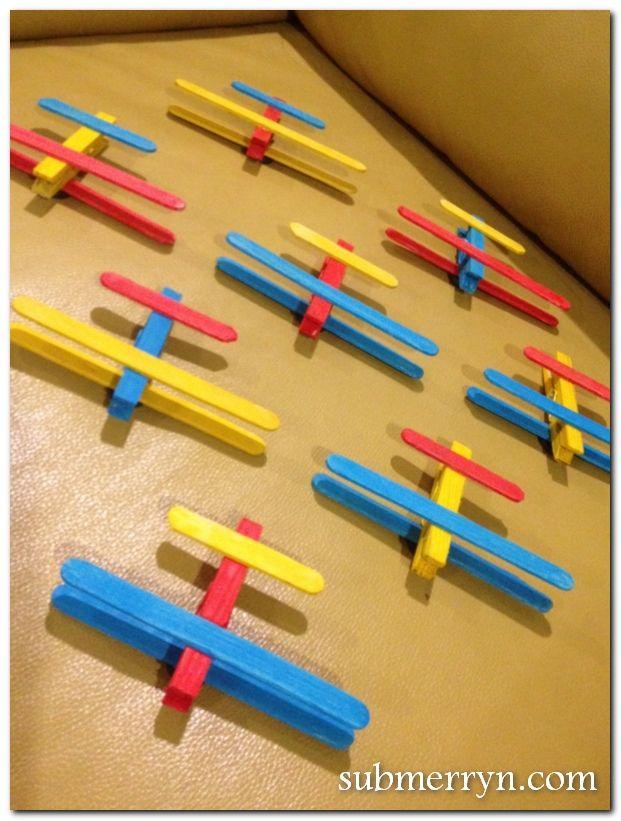 Icecream Stick Airplane Kids Party Ideas Craft Stick Crafts