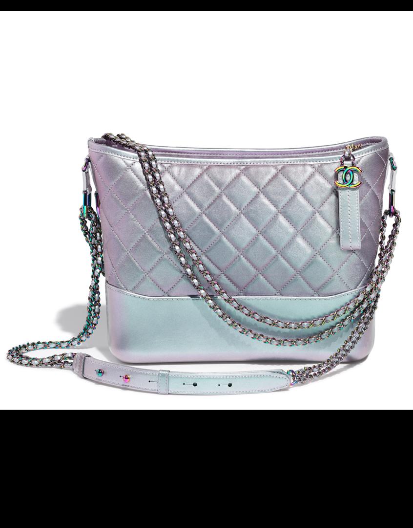 994e928aca98ac CHANEL's GABRIELLE Hobo bag, calfskin, iridescent lambskin & iridescent  metal-purple - CHANEL