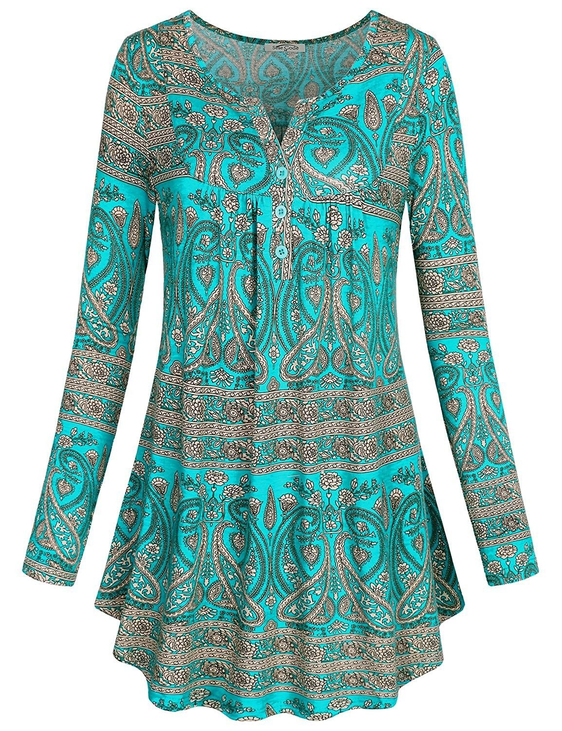 Women's Clothing, Tops & Tees, Tunics, Women's Crewneck Long Sleeve Floral  Shirts Flared Casual Tunic Tops(F…   Clothes for women, Long sleeve tunic  top, Tunic tops