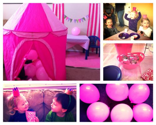 pink and purple birthday party ideas! princess, castle, balloons, streamers, cupcakes, felt crowns. simple and inexpensive ideas for girls birthday!