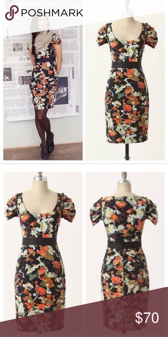 e6ba5ef19d474 Anthropologie Moulinette Soeurs Pittore Silk Dress Beautiful earthtone  watercolor floral on black. Side zip. Rounded neckline. Ruched cap sleeves  with a ...