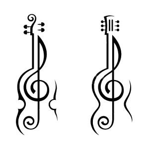 Violin and Guitar Treble Clef Coloring Page: Violin and Guitar ...