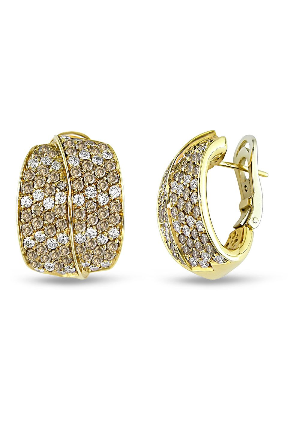4.25 CT Brown And White Diamond Earrings In 18k Yellow Gold