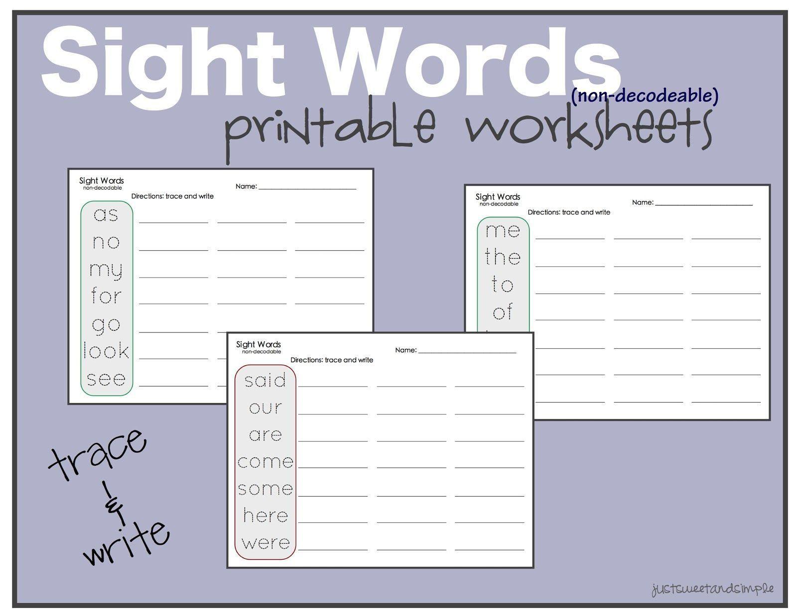 42 Printable Preschool Worksheets Words En