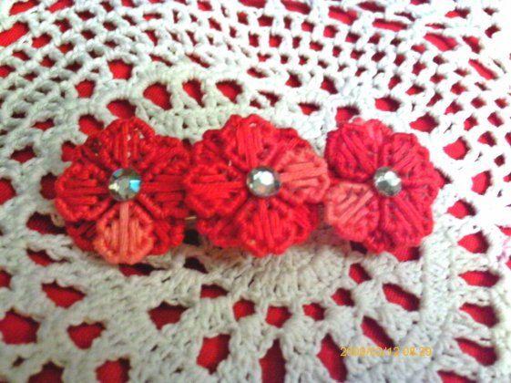 Red Swirl Meadow Flower Barrette by angelsandcrafts on Etsy, $5.00