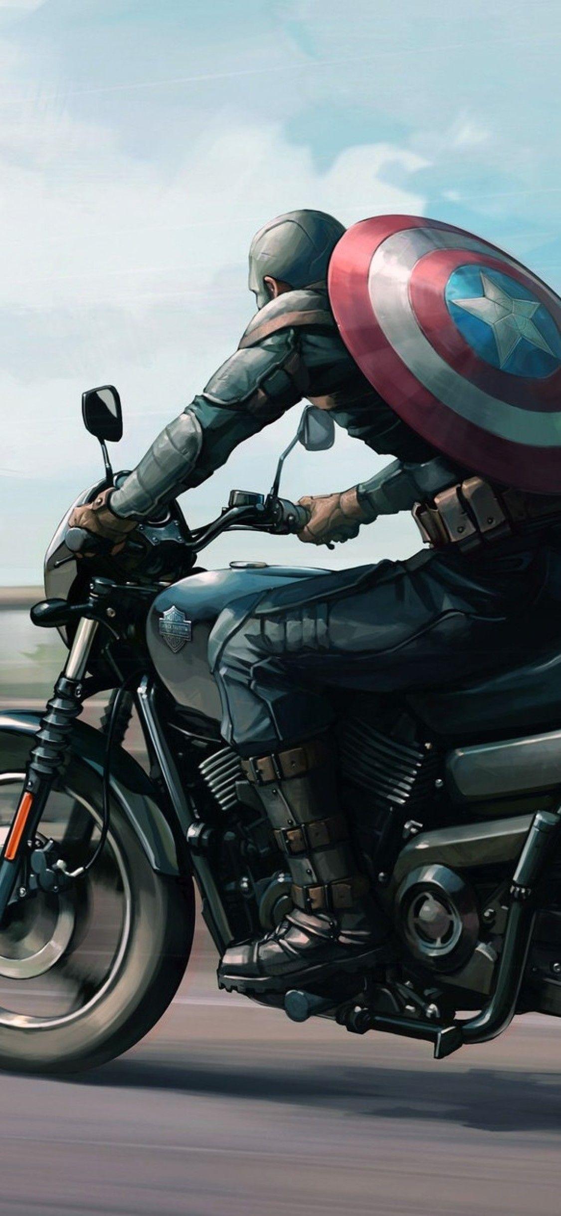 Harley Davidson Iphone Wallpaper In 2020 Captain America
