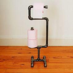 Kit porte rouleau papier toilette sur pied raccord plomberie objets d co en tuyaux pipe - Porte papier wc sur pied ...
