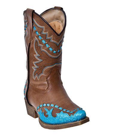 Tan & Turquoise Shyner Glitter Wingtip Cowboy Boot by Laredo #zulily #zulilyfinds