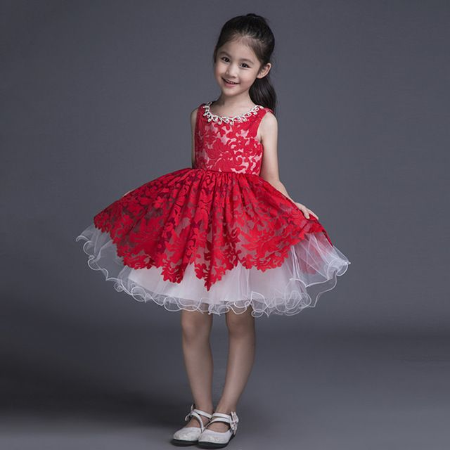 e058f5d906433 Red Lace Kids Ball Gown Little Girls Pageant Dress Short Puffy ...