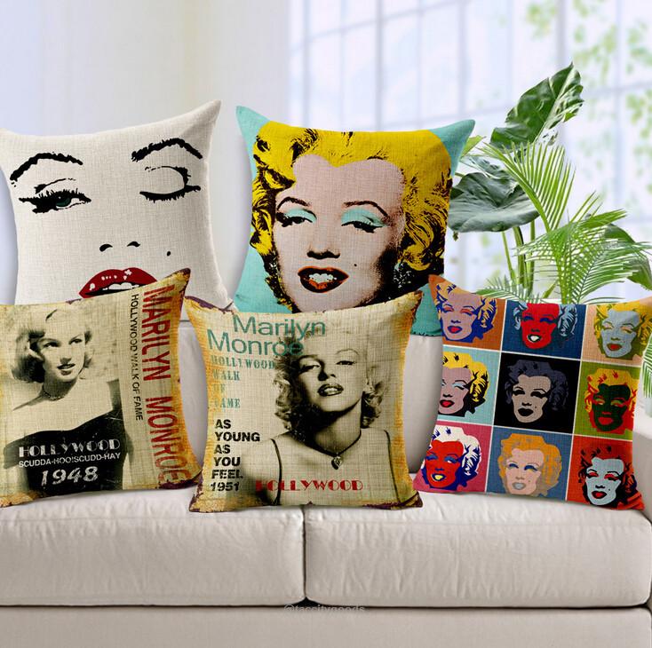 Marilyn Monroe Cotton Linen Throw Pillow Cover Sofa Cushion Cover Home Deco
