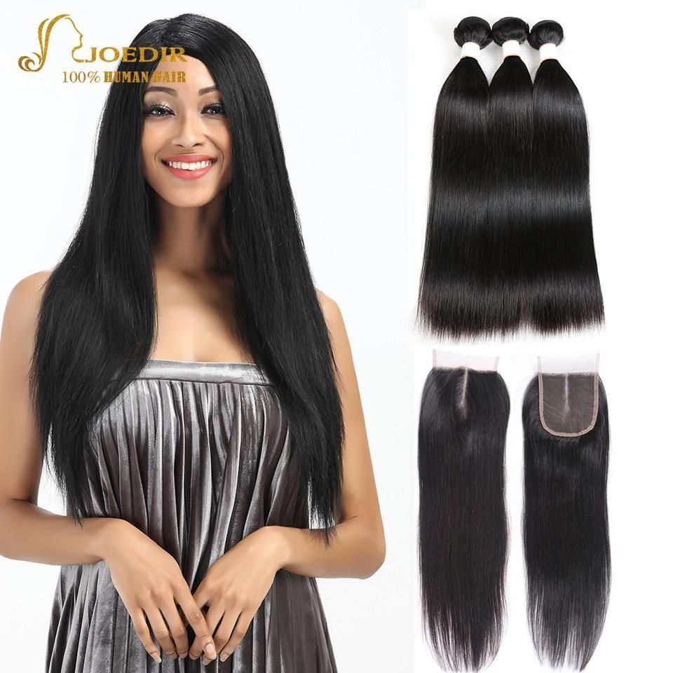 Joedir Human Hair Weave 3 Bundles With Closure Malaysian