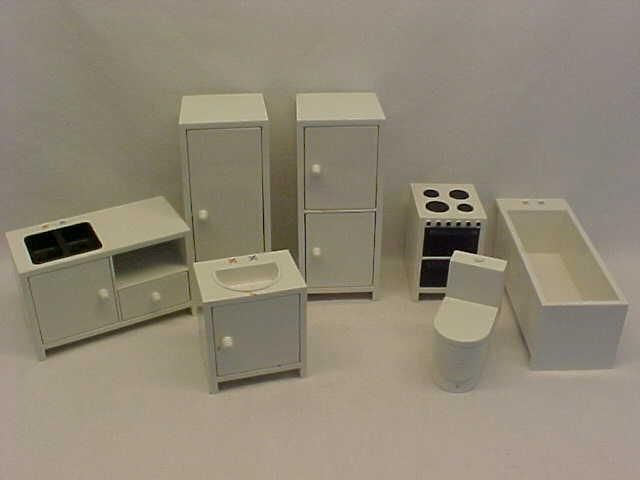 Elegant VINTAGE IKEA DOLLHOUSE CONTEMPORARY KITCHEN BATH SET DOLL FURNITURE NR