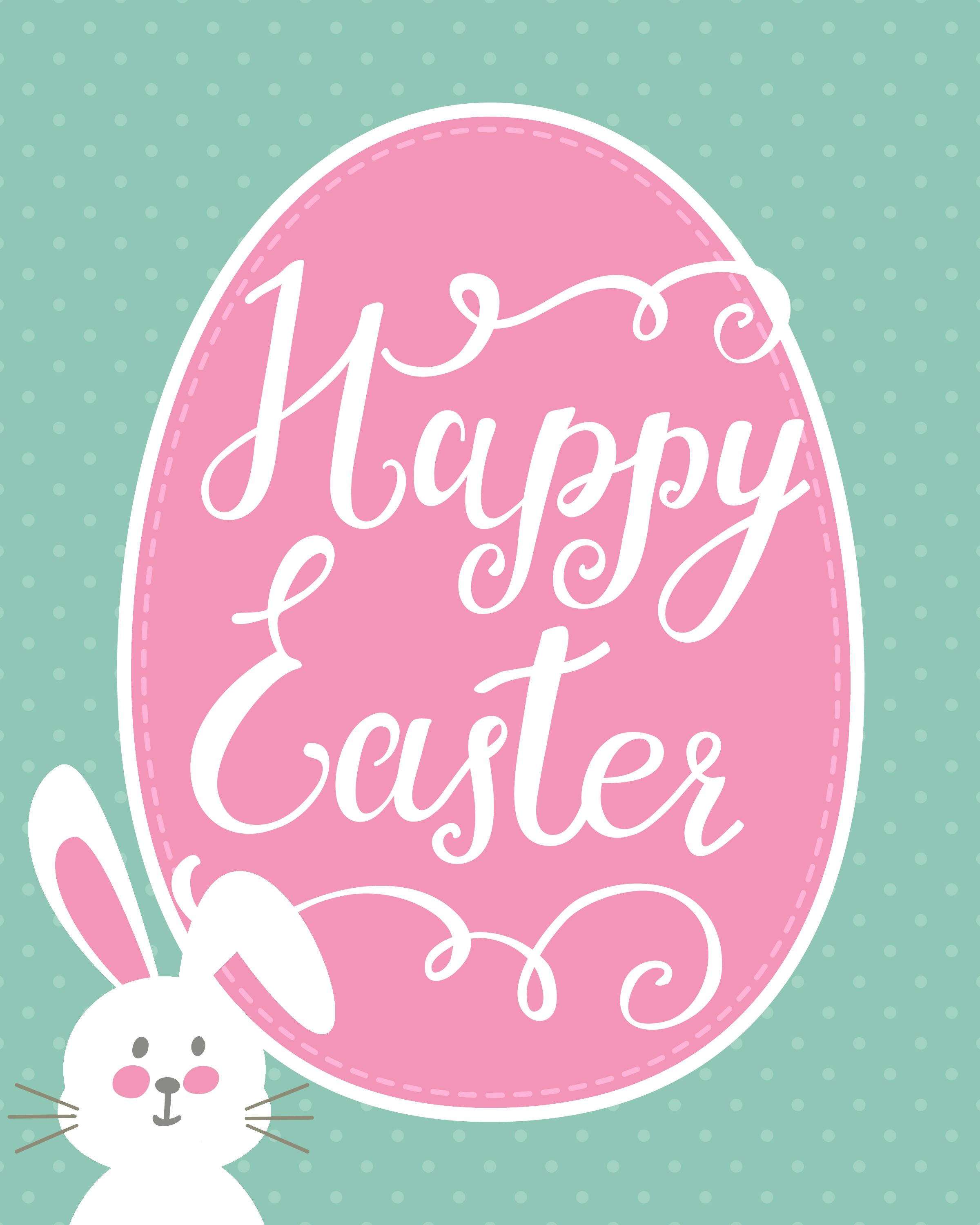 picture regarding Happy Easter Sign Printable called Delighted Easter Bunny Printable Holiday seasons - EASTER Easter