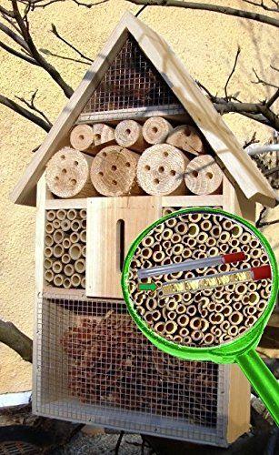 Insektenhotel mit Lotus-Effekt natur Marienk�fer Schmetterling Gartendeko Insektenhotel gro� 50 cm mit Lotus-Effekt Oberfl�chen Beschichtung und 2 Sichtgl�sern 8 und 11 mm Beobachtungsr�hrchen komplett mit F�llmaterial, Insektenh�uschen - biologischer �kologischer nat�rlicher Pflanzenschutz - �kolog