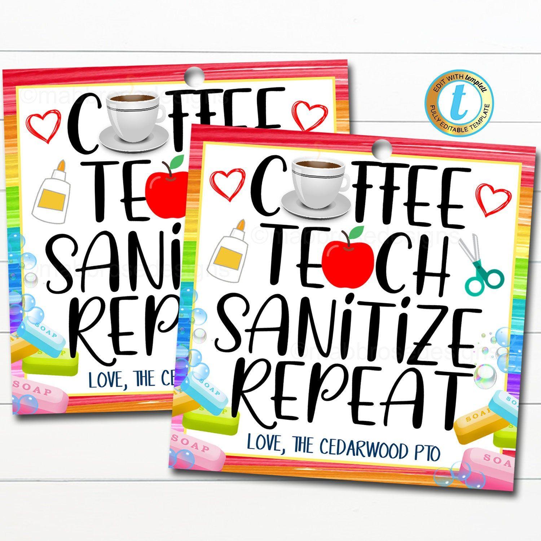 Back to school teacher gift tag coffee teach sanitize