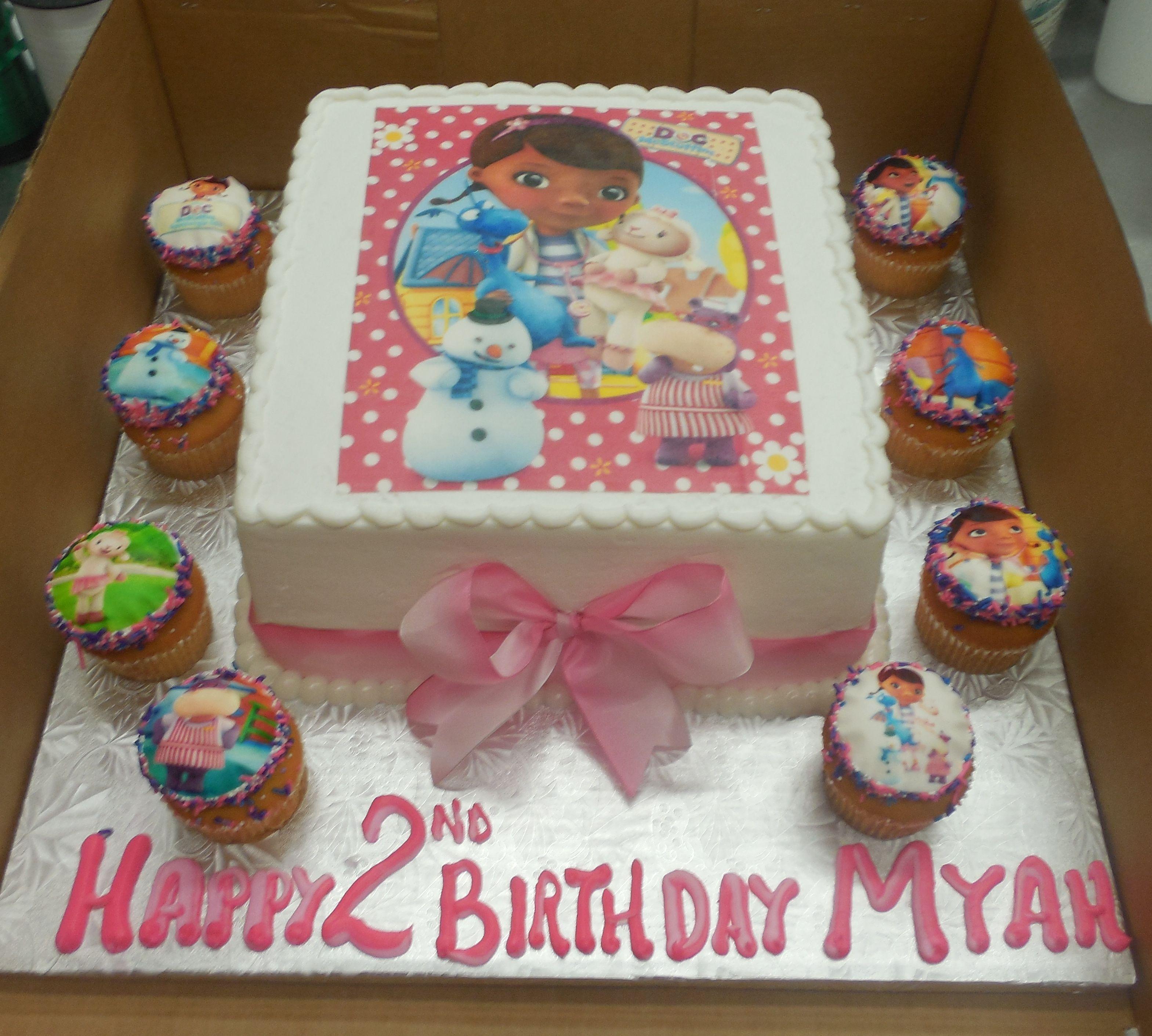 Super Calumet Bakery Doc Mcstuffins Cake With Cupcakes Doc Mcstuffins Funny Birthday Cards Online Inifodamsfinfo
