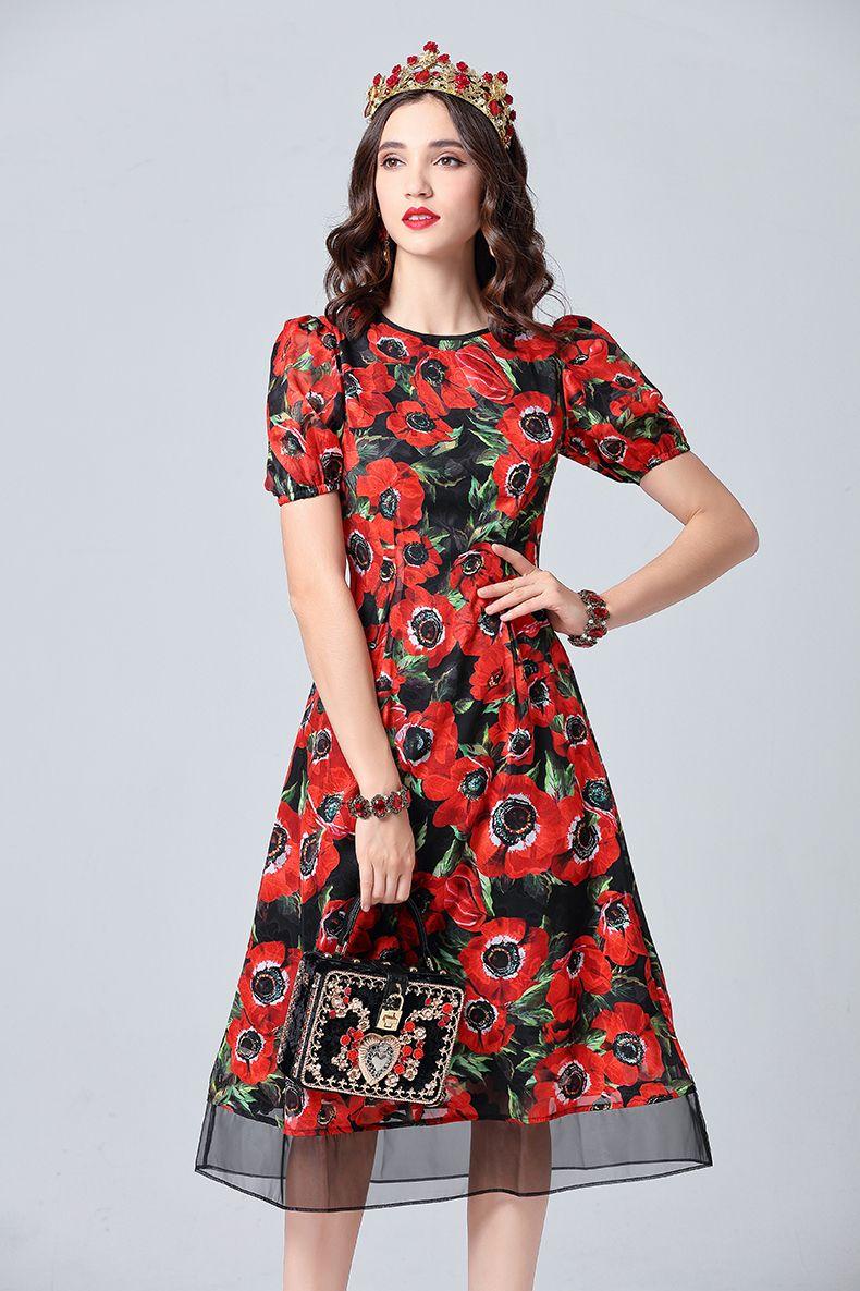 0d152f22de 2019 Runway Designer Summer Dress Women s Vintage Floral Print Midi Slim  Sexy Party Holiday Elegant Dress