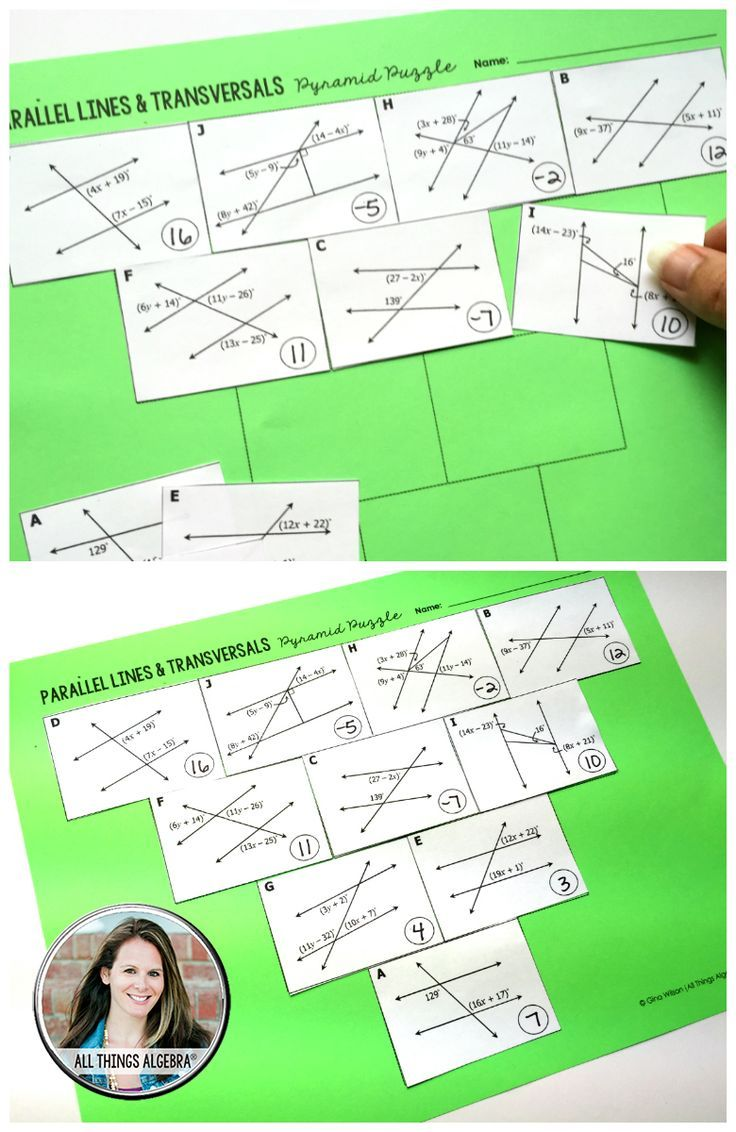 Parallel Lines Cut By A Transversal Pyramid Sum Puzzle 8th Grade