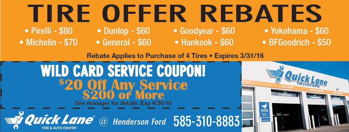 Tire Rebate Prices For Quick Lane At Henderson Ford Save On Tires
