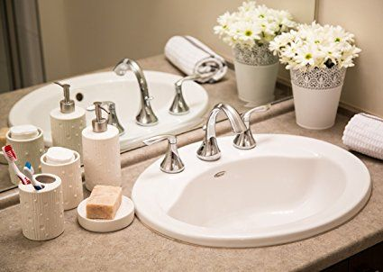 Comfify 4 Piece Modern Concrete Ceramic Bath Accessory Set Bundle With Liquid Soap Dispenser Toothbrush Holder Tumbler And Dish Alpine White