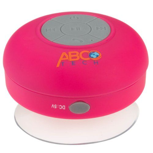 Abco Tech Water Resistant Wireless Bluetooth Shower Speaker with Suction Cup and Hands-Free Speakerphone, Pink Abco Tech