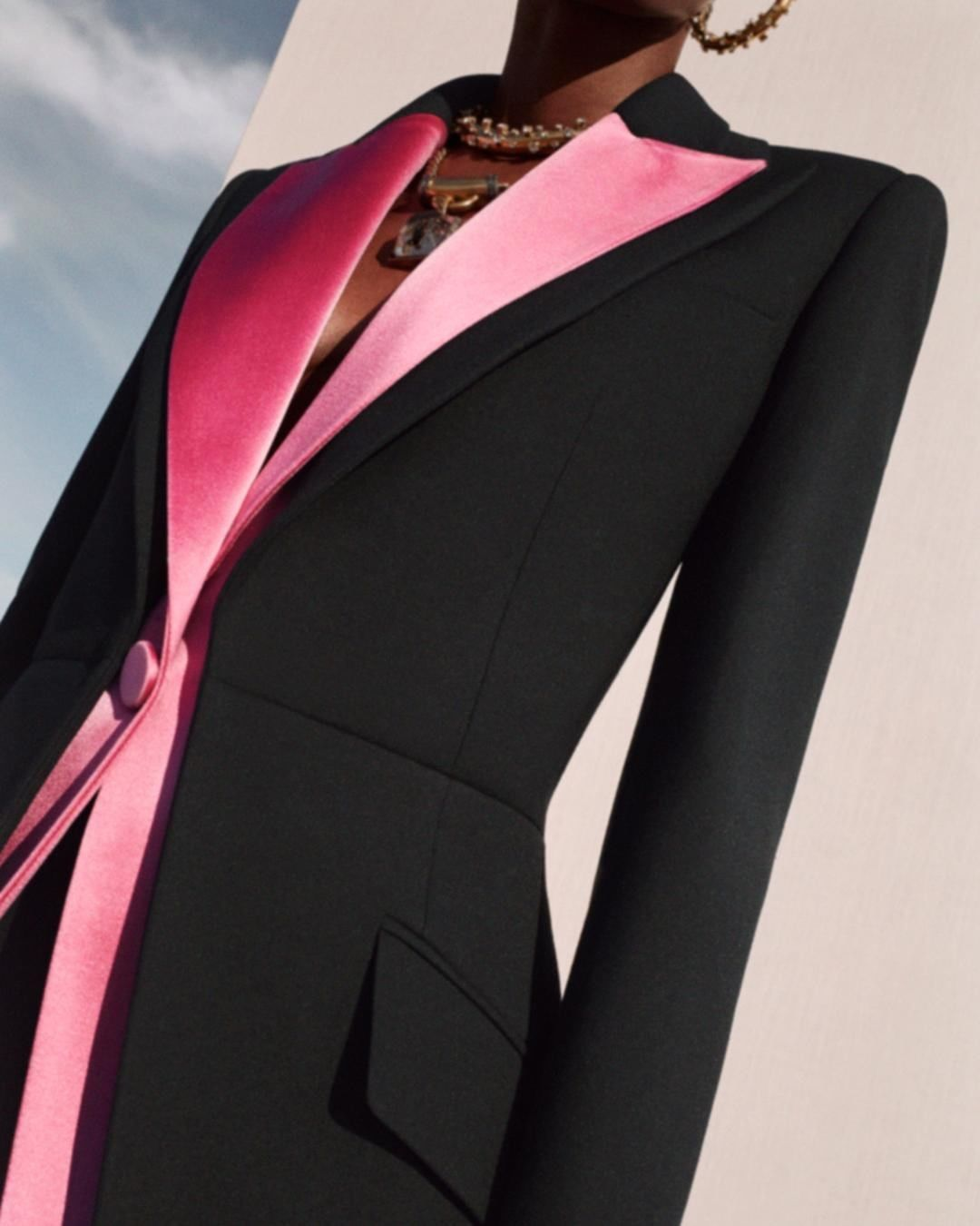 """Alexander McQueen on Instagram: """"A single-breasted black wool silk trompe l'oeil jacket with hibiscus pink duchess satin lapels.  From the Spring/Summer 2020 pre-…"""""""