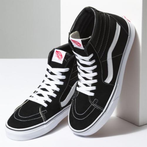 bc581f98d5df New Vans Men Women Shoes SK8 Hi Black White Canvas Suede Skateboard Sneaker