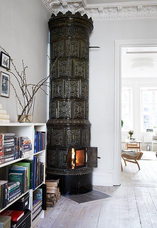 M 246 Rk Kakelugn Swedish Dark Stove Fireplace Places