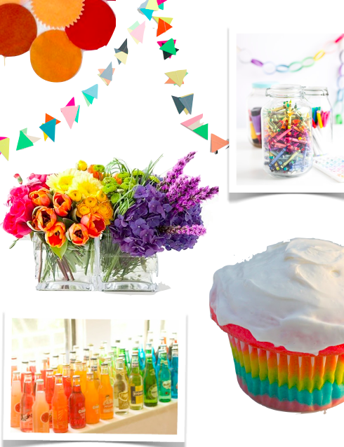 Rainbow party ideas- rainbow flowers and jar of crayons