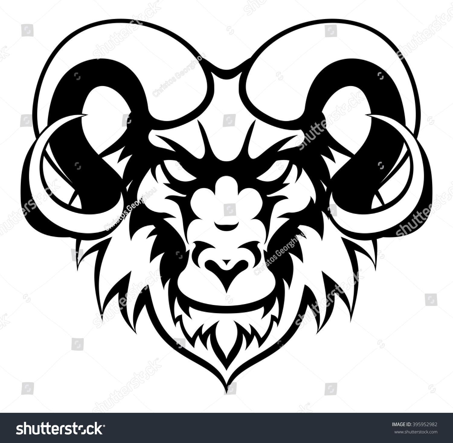An illustration of a ram animal mean sports mascot head