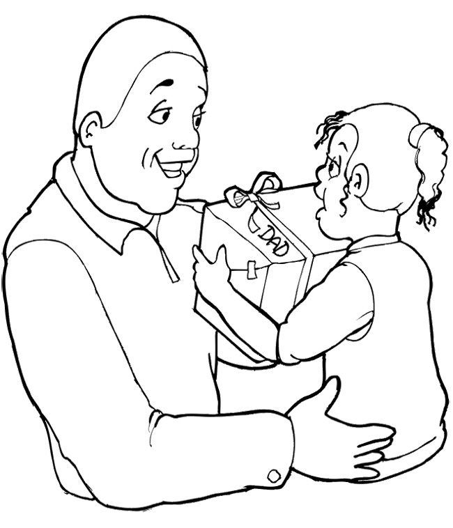 The Child Giving Gift To Fathers Day Coloring Page