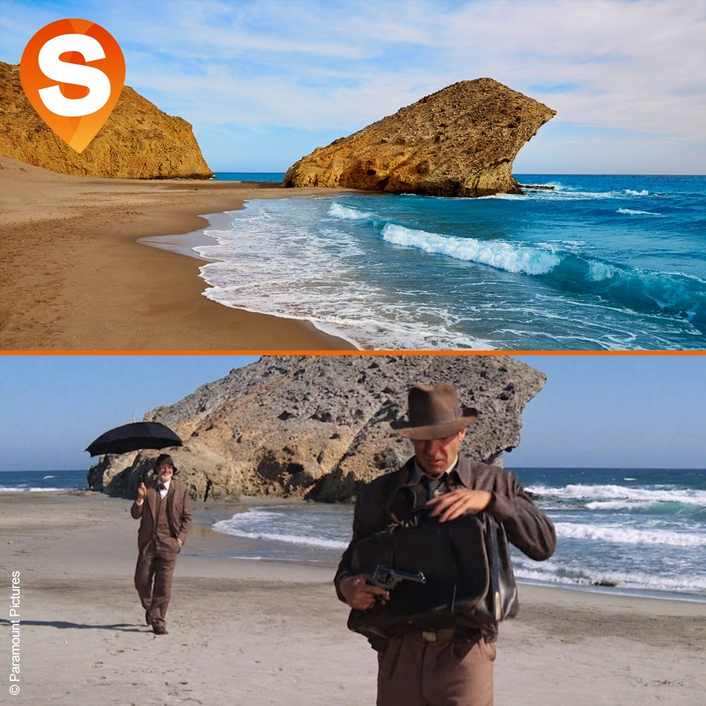 Indiana Jones And The Last Crusade At De Monsul Beach Filming Location Indiana Jones Filming Locations Indiana Travel