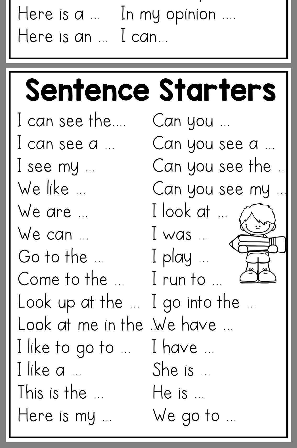 Sentence starter printouts kinder writing, work on writing