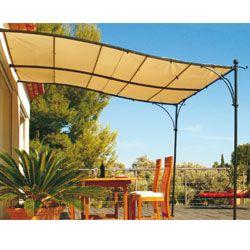 Terrassenuberdachung Als Anbau Luberon 3 M X 3 M Naturfarbener Stoff 200 G M Terrassenuberdachung Uberdachung Terrasse Pergola Schatten