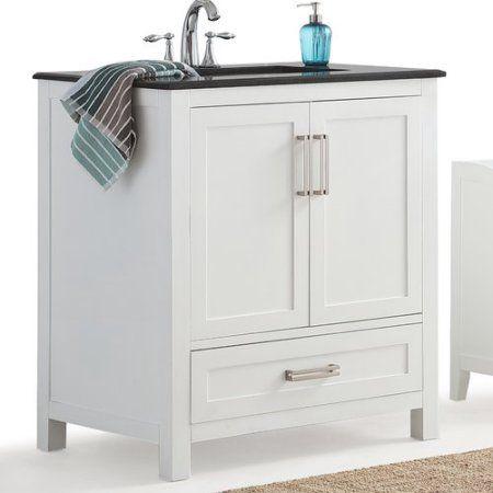 Simpli Home Evan 30 Inch Bath Vanity With Black Granite Top White Products Single Bathroom Vanity Vanity Vanity Set