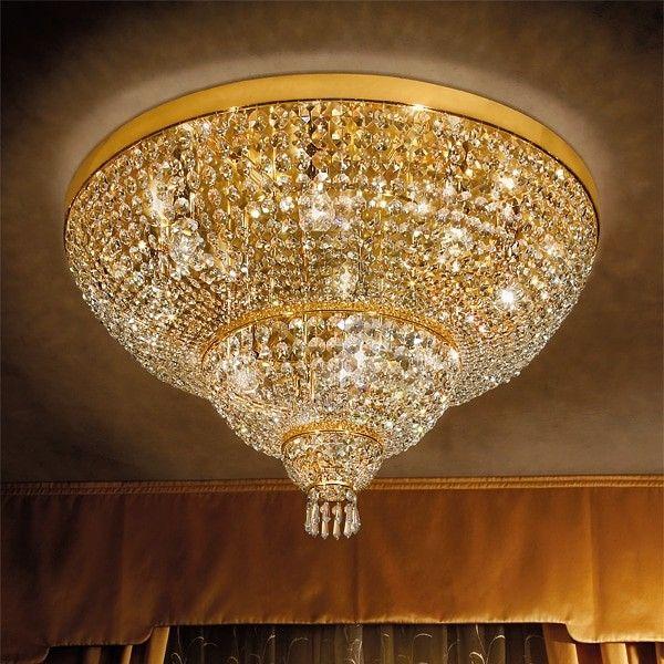 Plafoniera 15 luci in metallo oro 24Kt e ottagoni in cristallo ...