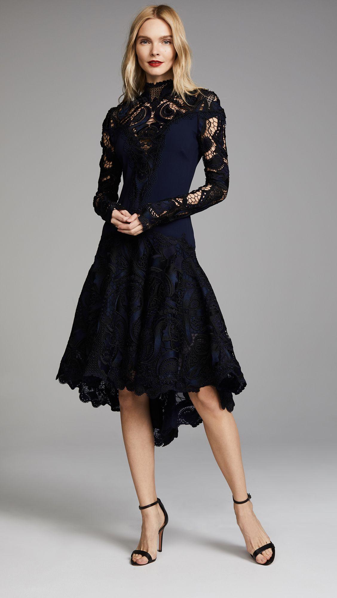 Crepe Applique Long Sleeve Trumpet Dress Long black