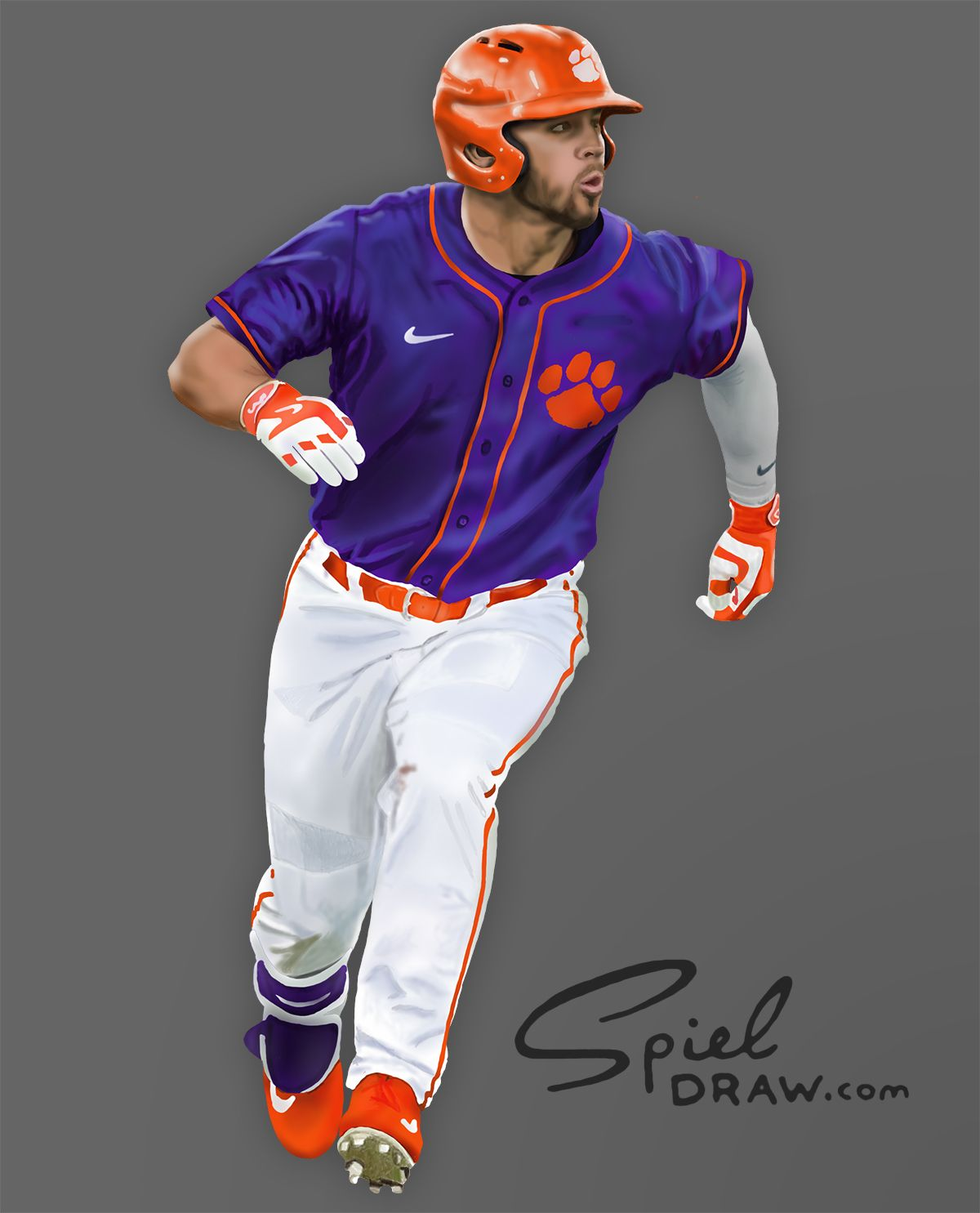 b37c7d709 Digital painting of Clemson first baseman Andrew Cox. Created with  Procreate and Photoshop.