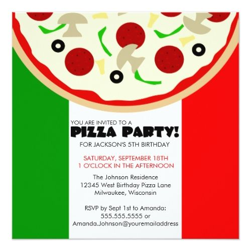 italian pizza party invitation pizza birthday party invitations