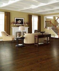 Flooring For Dining Room Amusing Mohawk Weathered Portrait Hardwood In Coffee Colorthis Design Ideas