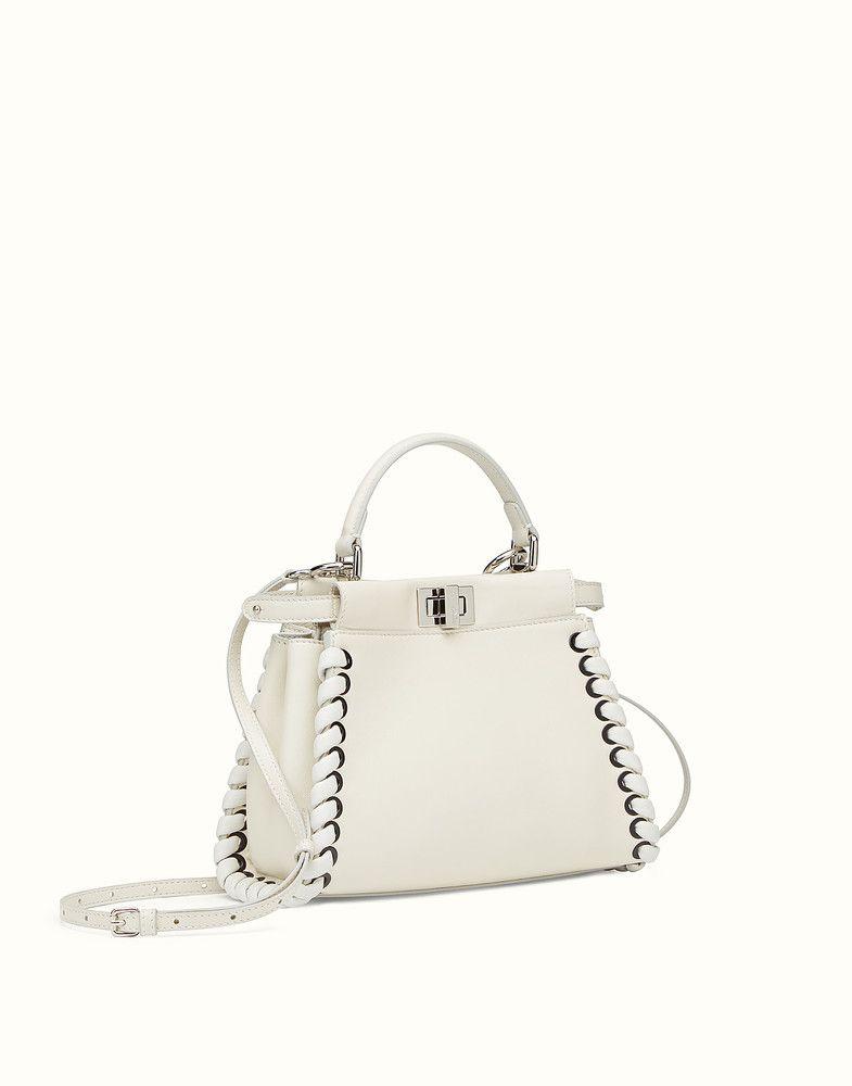 45334c8f5126 FENDI MINI PEEKABOO - White nappa handbag with weaving